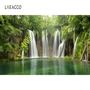 Фотофон Laeacco для фотостудии, фоны для фотосъемки с изображением леса, зеленой травы, водопада, камня