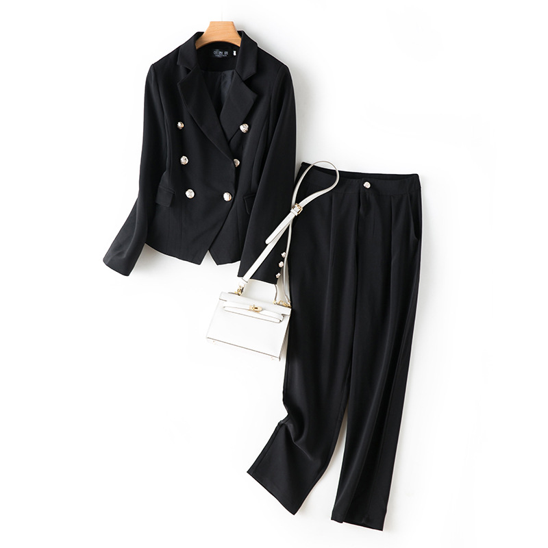 Autumn plus size women's professional pants two-piece overalls Temperament double breasted ladies jacket Slim pants high quality