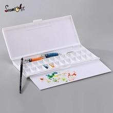 24Grid Folding Hydraterende Aquarel Palet Voor Kunstenaar Aquarel Olieverf Verf Palet Lade Box Art Supplies