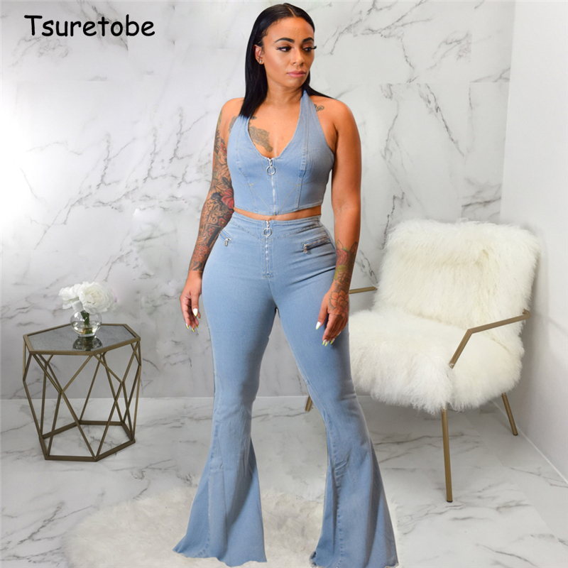 Tsuretobe Denim Two Piece Set Zipper Women Spaghetti Strap Crop Top And High Waist Flare Pants Set Sleeveless Outfits Backless