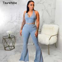 Tsuretobe Denim Two Piece Set Zipper Women Spaghetti Strap Crop Top And High Waist Flare Pants Set Sleeveless Outfits Backless