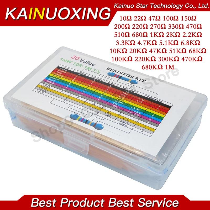 600PCS/LOT 1/4W Metal Film Resistor Kit 1% Resistor Assorted Kit Set 10 -1M Ohm hm Resistance Pack 30 Values each 20pcs