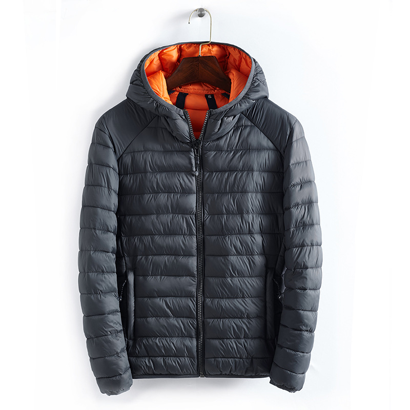 2019 New 90% White Duck Down Light Down Jacket Men's Hooded Large Size Ultra-thin Portable Waterproof Red Blue