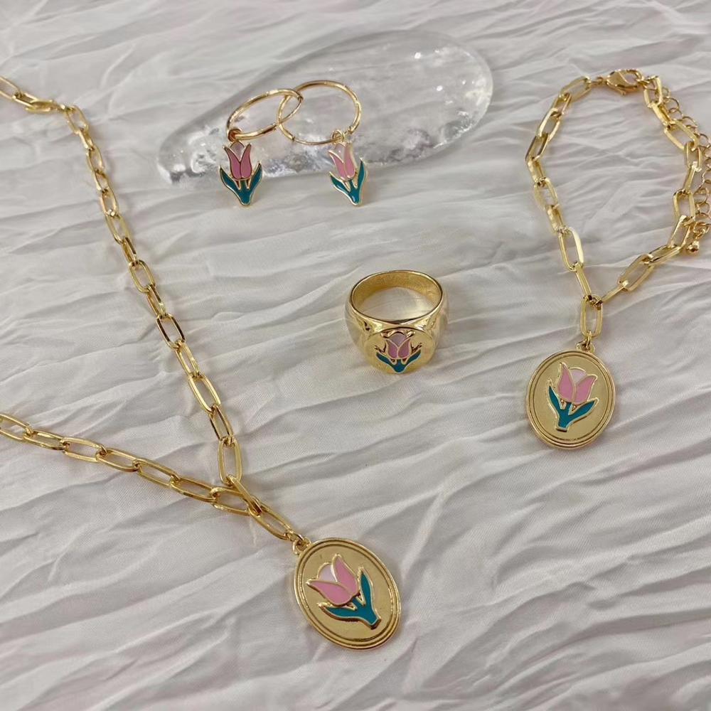 MENGJIQIAO Fashion Metal Drop Glaze Flower Hoop Earrings For Women Girls Cute Ring Chain Choker Party Necklace Jewelry Set