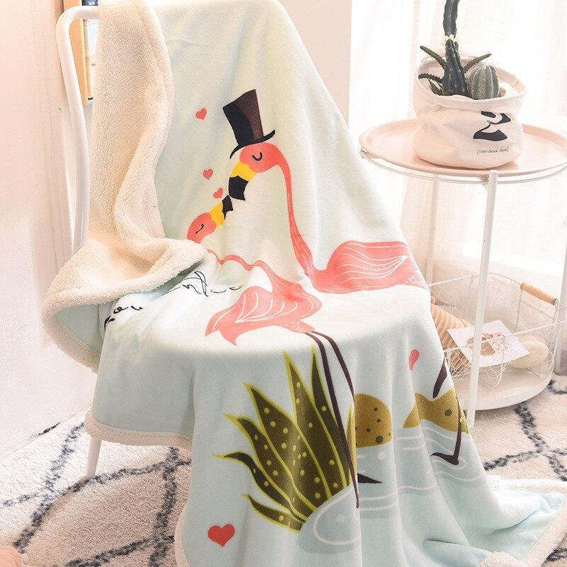 Children's Blanket Double Thick Cartoon Lambskin Children Blanket Children Coral Fleece Small Blanket
