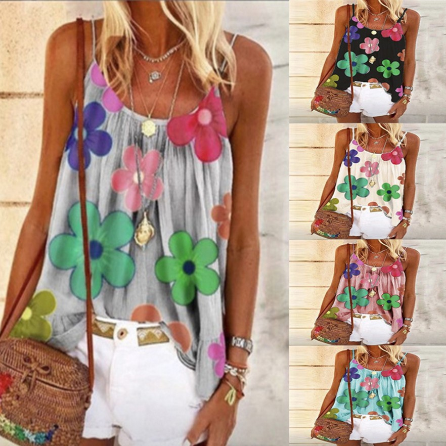 Floral Printed Casual Women Tank Tops Summer 2020 Sleeveless Loose Cute Vest Shirt Large Size Thin Women Vest Summer Tops S-5XL