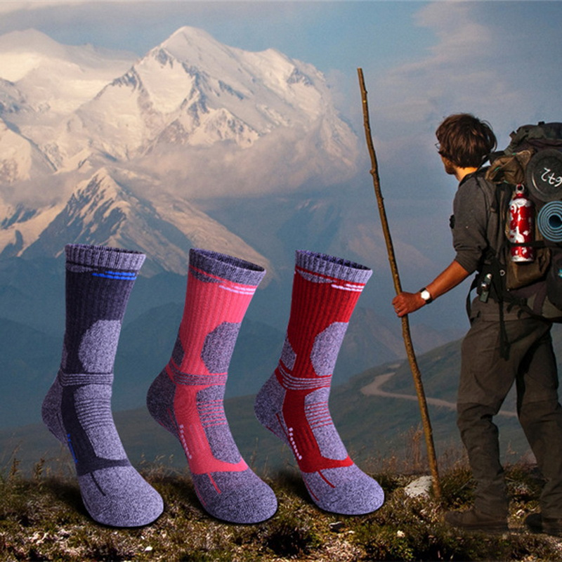 2Pairs/Lot Winter Thermal Walking Socks Thicker Men Women Outdoor Hiking Skiing Sock Sport Thermosocks For Cycling Mountaineer