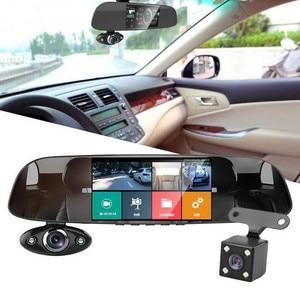 """Image 3 - Traço do carro câmera dupla 5 """"1080p fhd carro dvr toque espelho retrovisor câmera g sensor gravador de visão noturna lente dupla traço cam b33"""