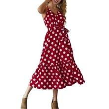 New Sling Ruffle Dress 2019 V-neck White Wave Point Sleeveless Bandage Dress Belt Pleat Beach Evening Party Dresses Women Summer white wave point v neck ruffle hem mini dresses