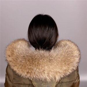 Image 3 - Cuello de piel de mapache Real para mujer, piel Natural gris, Collar, chal de piel auténtica, cuello de mapache, piel