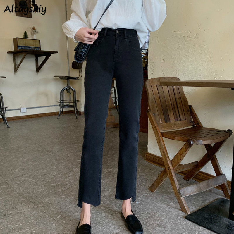 Женские джинсы до щиколотки, повседневные Прямые джинсы с высокой талией в Корейском стиле, новинка, модная повседневная Уличная одежда, то...