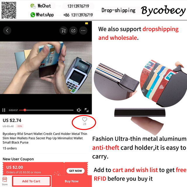 Bycobecy 2021 Rfid Smart Wallet Credit Card Holder Metal Ultra Thin Men's Anti Theft Brush Metal Card Box Women's Card Holder 3