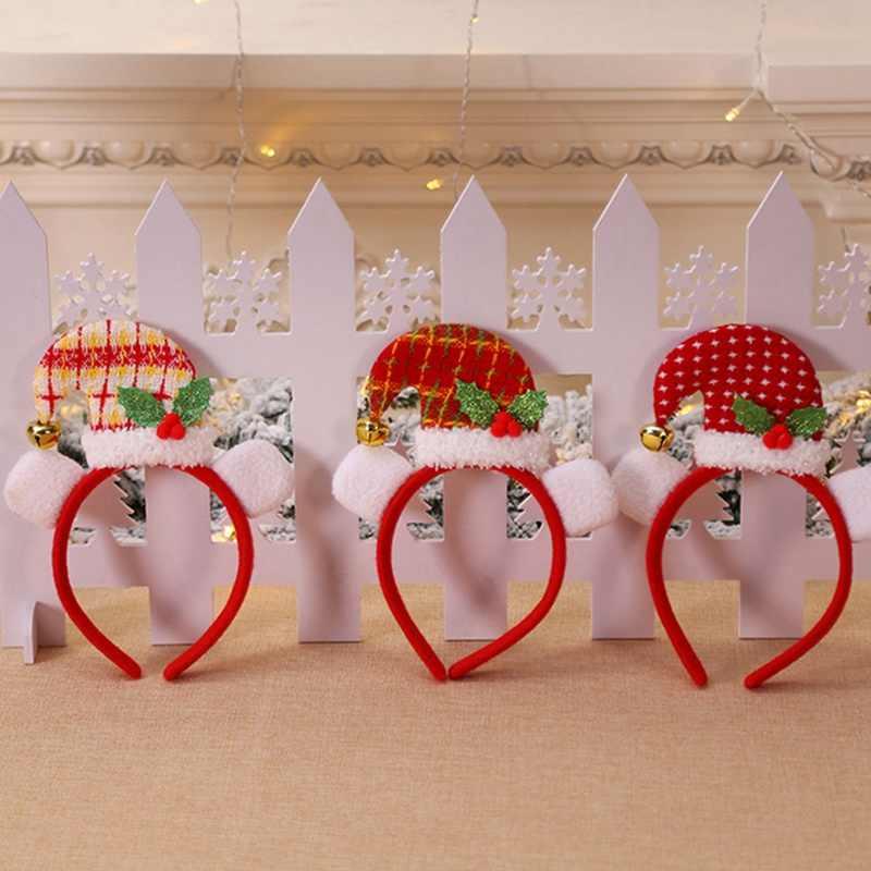 2020 headband do Natal chapéu De Natal Cabeça Quente de Santa Xmas Party Decor Dupla Cabeça Hoop Headwear Faixa de Cabelo Fecho