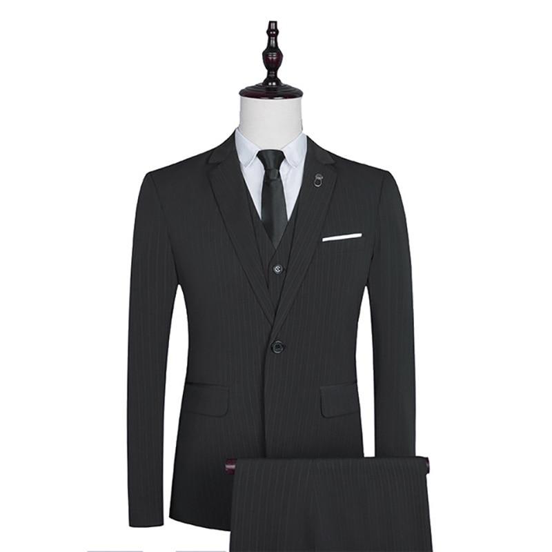 3Pcs Suit Slim Fit Male Jacket Blazer+Pants+Vest Single Breasted Formal Smart Casual Fashion Winter Autumn Blazer Pants Suits