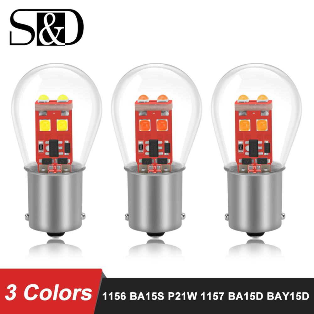 1156 BA15S 1157 BA15D BAY15D P21/5W P21W LED Car Light Brake Bulbs Auto Turn Signal Tail Parking Reverse Lamp White Red Yellow