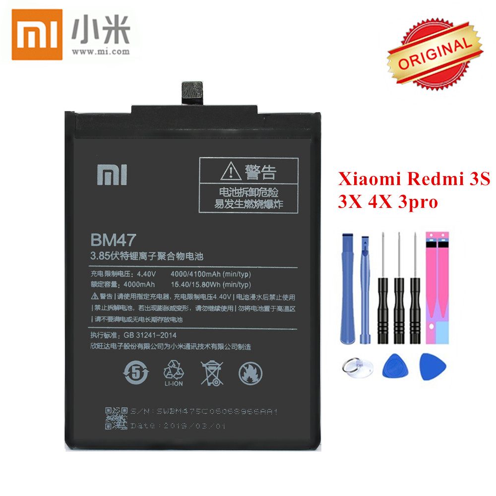 Original Xiao <font><b>mi</b></font> <font><b>Battery</b></font> BM47 for Xiaomi Redmi 3 3S 3X 3 Pro Redmi <font><b>4X</b></font> Hongmi 3 S 4 X Li-ion akku 4000mAh with free Repair Tools image