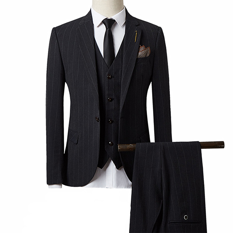 Groom Wedding Suit Three-piece Fashion British Style Men's Stripe One Button Jacket Pants Vest High-end Large Slim Suit