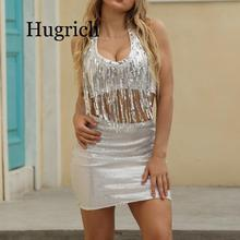 2020 New Women Luxury Sequin Crop Top and Skirt 2 piece Set Halter O Neck Sexy Tassel Top Bling Bodycon Mini Skirt Club bodycon choker neck tube top