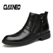 Buy CLAXNEO Man Boots Zipper Genuine Leather Male Casual Leather Shoes Mens Winter Boot Fur Warm Footwear Big Size directly from merchant!