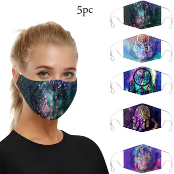 5PCS Mouth Mask Washable Reusable Outdoor Dustproof Mask Adjuestable Earloop Printed Face Masks For Adult Women and Men fdbro sport mask outdoor men and women sports masks for good quality training sport fitness mask 2 0 eva package with box free