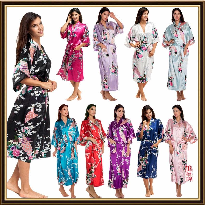 Satin Silk V-neck Woman Nightgown Japanese Style Yukata Long Dress Smooth Summer Peacock Print Pajamas Nightgown Kimono