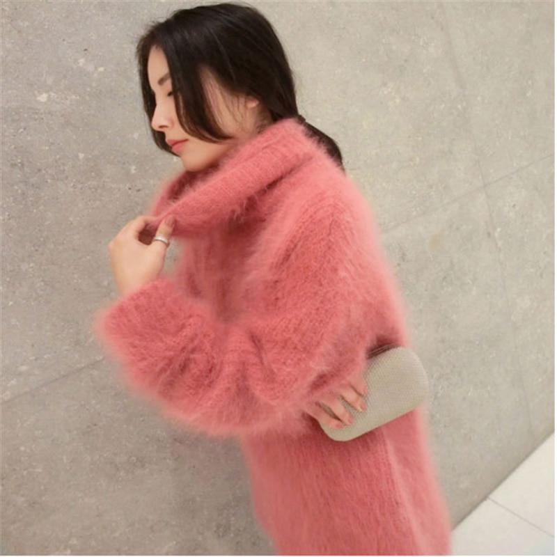 여성 스웨터 풀오버 겨울 2019 한국어 니트 긴 스웨터 두꺼운 양모 섹시한 핑크 스웨터 높은 목 플러스 사이즈 긴 스웨터