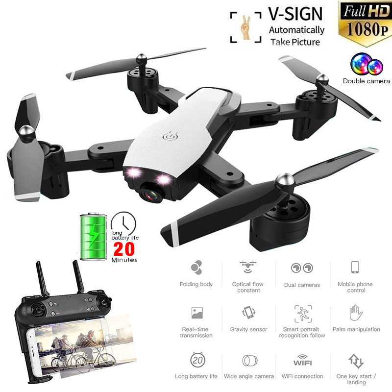 L107 RC Drone With Wide Angle HD Dual Camera WIFI FPV smart follow Quadcopter Optical Flow Aerial Video Selfie Dron Helicopter