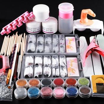 100 akryl Powder narzędzie do zdobienia paznokci zestaw startowy zestaw tipsy Brush File Form DIY Kit dla początkujących brokat do paznokci Manicure tanie i dobre opinie COSCELIA CN (pochodzenie) Zestaw kit Set amp Kit 1 set Z tworzywa sztucznego Full Kit Set For Manicure Acrylic Nail Kit