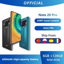Cubot nota 20 pro quad câmera smartphone nfc 6/8gb + 128 6.5 Polegada mah 4200 android 10 duplo sim telefone 4g lte celular note20 pro