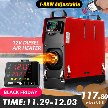 Hcalory All In One 1-8kW Air diesels Heater Red 8KW 12V One Hole Car Heater For Trucks Motor-Homes Boats Bus+LCD key Switch