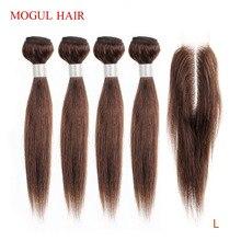 MOGUL HAIR mèches brésiliennes Remy Lace Closure 2x6, cheveux humains lisses, Kim K, coupe courte Bob, couleur naturelle, 50g/pièce, lot de 4