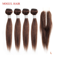 MOGUL włosów 50 g/sztuka 4 zestawy z 2x6 Kim K zamknięcie koronki ciemnobrązowy brazylijski prosto Remy ludzki włos Natual kolor krótki Bob Sty