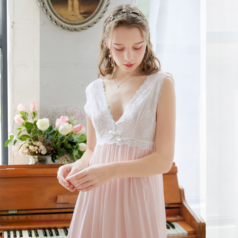 <font><b>Women</b></font> Female Cotton <font><b>Pink</b></font> <font><b>Blue</b></font> White <font><b>Sexy</b></font> Sleepwear Night <font><b>Dress</b></font> Lace Homewear Nightwear Long Nightgown Luxury Gown image