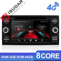 Isudar H53 Car Multimedia Player GPS Android 2 Din For Ford/Mondeo/Focus/Transit/C MAX/KUGA 8 Core RAM 4GB DVR Autoradio DSP DVD