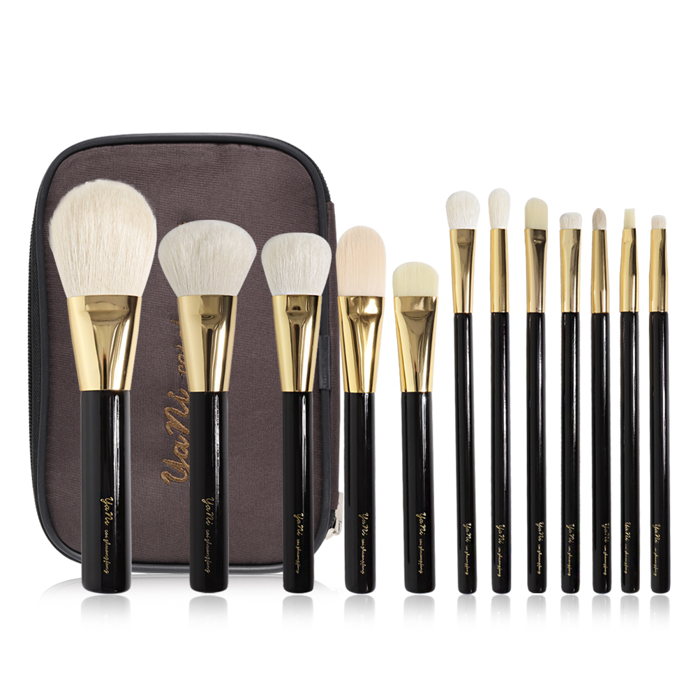 Yani High Class 12Pcs Makeup Brushes Set TF Same Style Natural Goat Hair Powder Eyeshadow Cosmetic Brush Set with Travel Bag