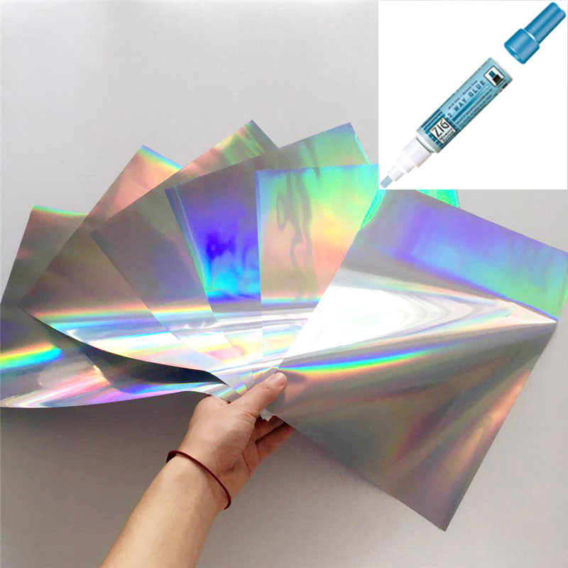 Myfoils A4 50pcs Silver holographic Stamping Foil quill paper for Laminator Transfer by laser printer minc