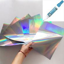 Myfoils A4 50pcs Silver holographic Stamping Foil quill paper for Laminator Transfer by laser printer  minc foil laminator minc цена и фото