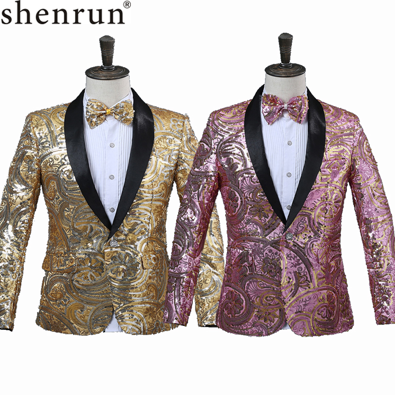 SHENRUN Mens Pink Gold Flower Sequins Fancy Paillette Wedding Singer Stage Performance Suit Jacket Annual DJ Blazer With Bow Tie(China)