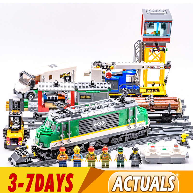 DHL IN Stock 02118 02117 City Cargo Train Remote Control Building Kit Building Blocks Bricks Model Toys Fit for 60198 1