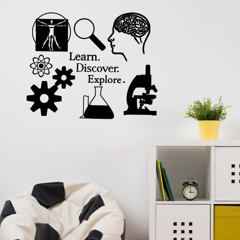 Science Wall Decal / Learn. Discover. Explore. / Science Classroom School Vinyl Sticker, Science Wall Art SK47