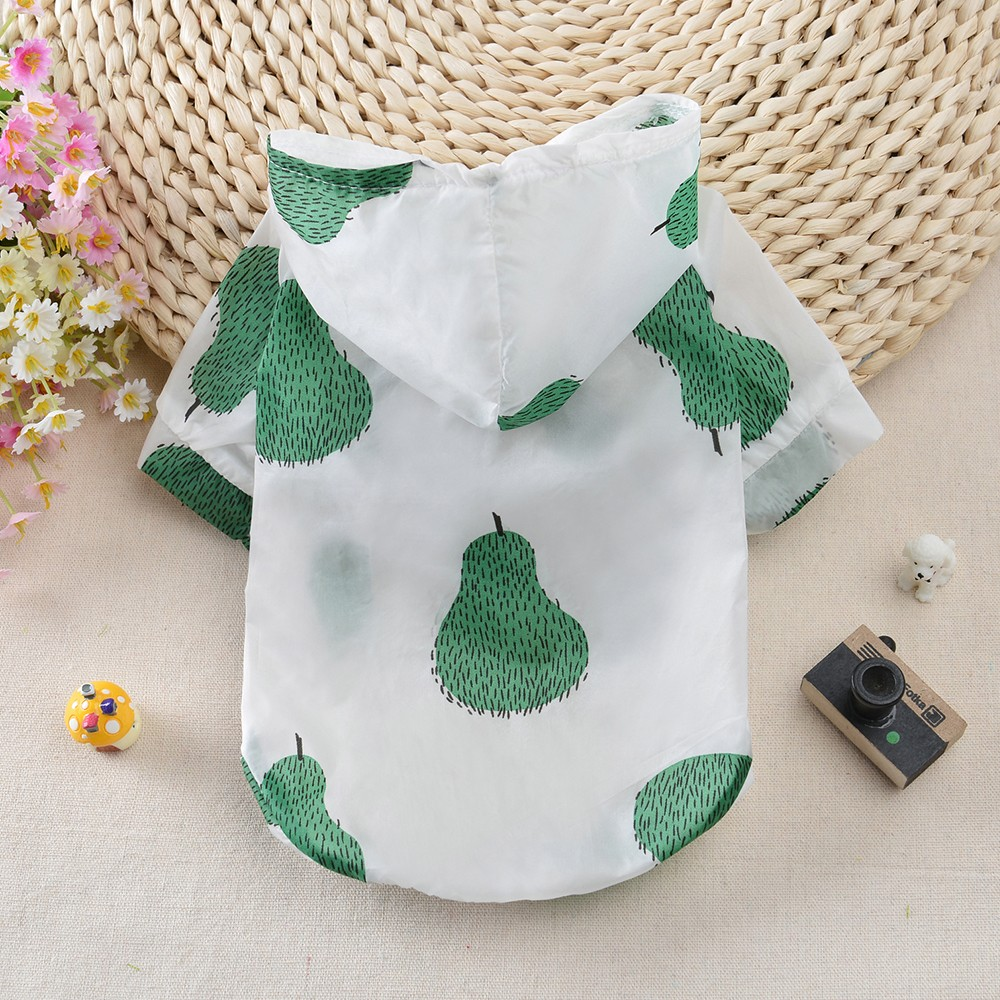 Summer Sun Protection Hoodie Small Dog Clothes Dog Raincoat Sun-proof Clothing Fruit Printing For Small Medium Pets Print Poncho