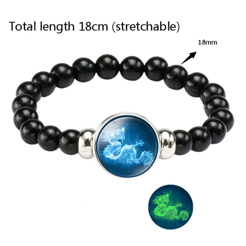 12 Constellation Gemini Leo Libra Scorpio Sagittarius  Luminous Bracelet Leather Bracelet Zodiac Charm Jewelry Bracelet For Men