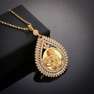 Image 3 - Jamais fané grande taille turquie pièce pendentif et colliers avec cristal AAA pour les femmes couleur or pièces de monnaie turques bijoux cadeaux ethniques