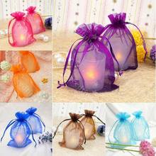 25Pcs /Lot Mesh Sheer Organzar Wedding Party Favor Gifts Candy Storage Bags Jewelry Pouches Drawstring Bag Container(China)