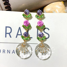 S925 Silver Needle Crystal Earrings Korea Fashion Flower European and American Temperament Mesh Red