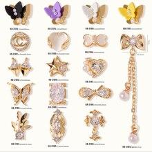 5 шт., 3d Nail Art Нежный с цирконием, ювелирное изделие, с украшением в виде кристаллов Стразы с золотой сплав для ногтей Советы украшения
