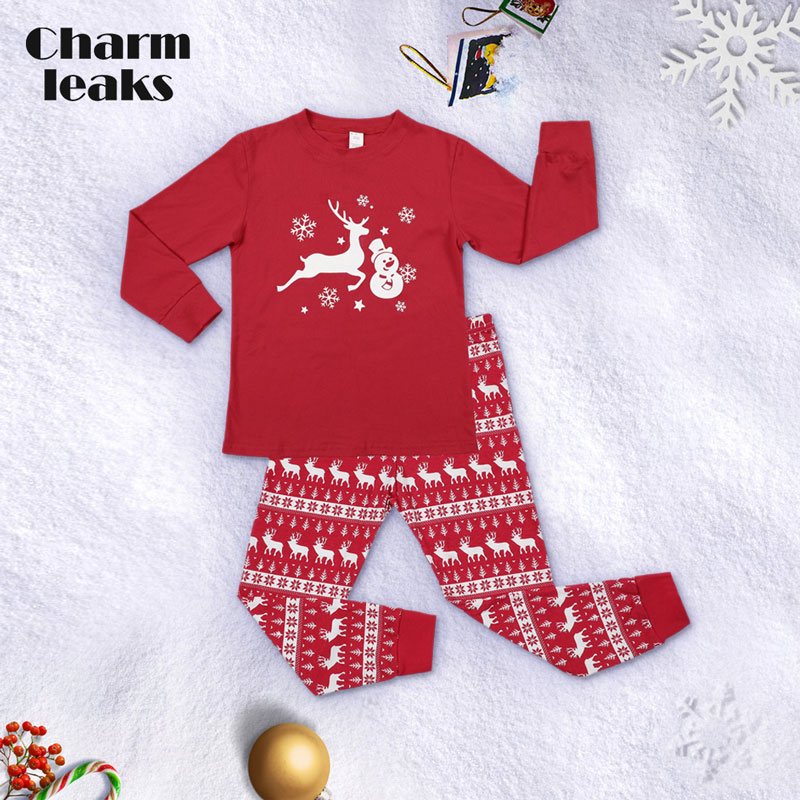 Charmleaks Kids Christmas Pajamas Set Long Sleeve New Xmas Kid Children Skin-friendly Sleepwear Nightwear Homewear Set Outfits
