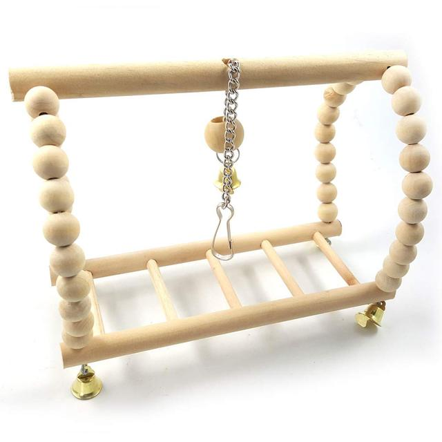 Bird Parrot Wood Hanging Bridge with Beads Bells Suspension  Swing Ladder Climbing Frame Toy Cage Balance Training 3