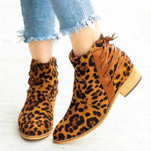 Fashion Women Lace Ankle Boots Winter Female Women Autumn Casual Shoes Mid Heel Suede Scrub Leopard Ladies Shoes Femme Booties(China)