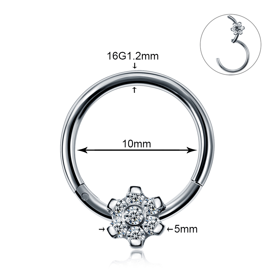 1PC 16G Steel Indian Segment Nose Septum Rings Women Crystal Ear Helix Clicker Piercings Earring Septums Hoop Piercing Jewelry